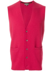 N.Peal Classic Buttoned Waistcoat Red
