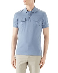Gucci Light Blue Short Sleeve Pique Military Polo W Chest Pockets