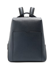 Valextra Grained Leather Backpack Navy