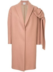 Delpozo Straight Coat With Bow Pink And Purple