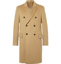 Kent And Curwen Slim Fit Double Breasted Virgin Wool Coat Camel