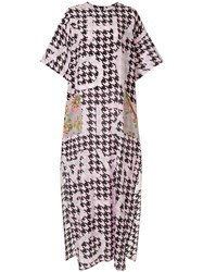 Natasha Zinko Houndstooth Print Dress Pink