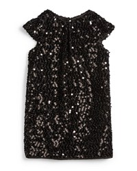 Milly Minis Sequin Cap Sleeve Shift Dress Black