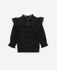 The Kooples Embroidered Long Sleeve Top With Frills