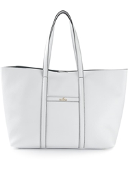 Hogan Front Logo Plaque Tote Bag White
