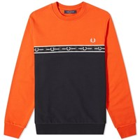 Fred Perry Authentic Taped Chest Crew Sweat Orange
