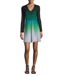 Missoni Long Sleeve Zigzag Knit Dress Black Green