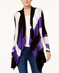 Inc International Concepts Draped Colorblocked Cardigan Only At Macy's Vivid Purple