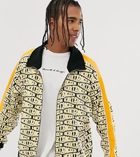 Heart And Dagger Repeat Logo Print Zip Up Jacket Yellow