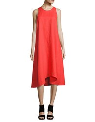 Lord And Taylor Solid Swing Dress Red