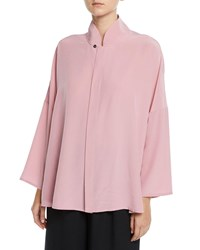 Eskandar Chinese Collar Button Front Silk Blouse Dark Pink