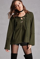 Forever 21 Lace Up Terry Knit Hoodie Olive