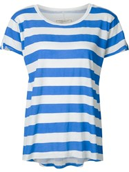 Current Elliott Striped Boat Neck T Shirt Blue