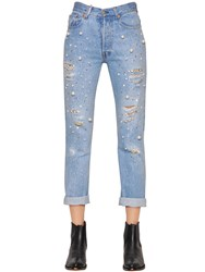 Forte Couture Embellished Cotton Denim Boyfriend Jeans