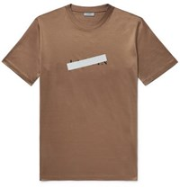 Lanvin Slim Fit Reflective Trimmed Mercerised Cotton Jersey T Shirt Bronze