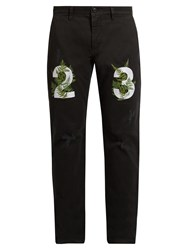 Off White Fern Embroidered Chino Trousers Black Multi