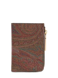 Etro Paisley Faux Leather Zip Wallet Multicolor
