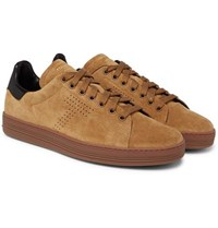 Tom Ford Warwick Perforated Suede Sneakers Tan