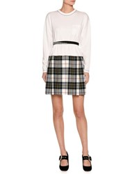 Miu Miu Long Sleeve Jersey And Plaid Combo Dress White