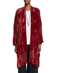 Eskandar Devore Velvet Open Jacket Poppy Red Patterned