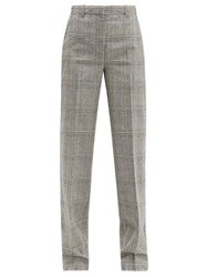 Versace Prince Of Wales Check Wool Straight Leg Trousers Grey Multi