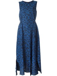 Julien David Calico Print Flared Dress Blue