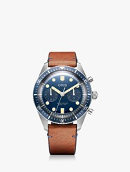 Oris 01 771 7744 4095 'S Divers Sixty Five Bucherer Blue Edition Automatic Chronograph Leather Strap Watch Tan Navy