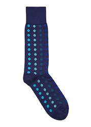 Paul Smith Navy Polka Dot Cotton Blend Socks Blue