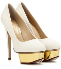 Charlotte Olympia Dolly Canvas Platform Pumps White