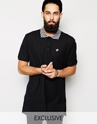 Reclaimed Vintage Longline Polo Shirt With Gingham Collar Black