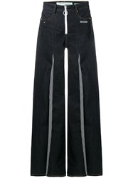 Off White Contrast Flared Jeans Blue