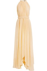 Saloni Irina Swiss Dot Chiffon Maxi Dress Pastel Yellow