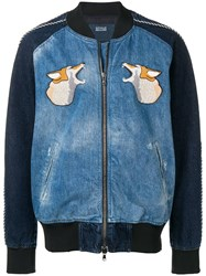 Diesel Black Gold Hunting Embroidery Bomber Jacket Blue