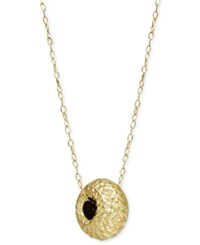 Macy's Diamond Cut Bead Pendant Necklace In 14K Gold Yellow Gold