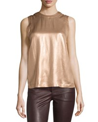 Brunello Cucinelli Laminated Silk Sleeveless Top C6206 Copp
