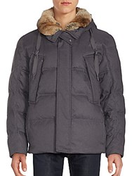 Andrew Marc New York Darien Rabbit Fur Trimmed Down Coat Grey