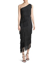 La Petite Robe Di Chiara Boni Lula Tiered Fringe One Shoulder Gown Black