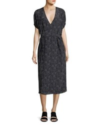 Vince Floral Print Silk Kimono Wrap Dress Black