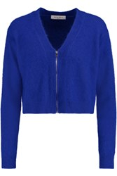 Sandro Glen Cropped Knitted Cardigan Blue