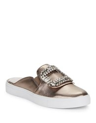 Karl Lagerfeld Embellished Leather Slider Sneakers Antique Gold