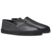Bottega Veneta Intrecciato Leather Espadrilles Navy