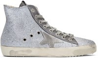 Golden Goose Grey Glitter Francy High Top Sneakers