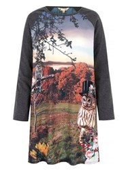 Yumi Jersey Tunic Dress With Owl Print Multi Coloured