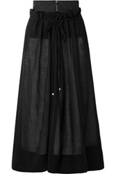 Tibi Layered Wool Blend Midi Skirt Black