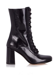 Maryam Nassir Zadeh Emannuelle Lace Up Leather Boots Black