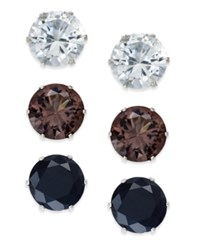 Thalia Sodi Silver Tone Clear Black And Brown Crystal Earring Trio Only At Macy's