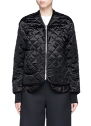Ms Min Quilted Satin Bomber Jacket Black