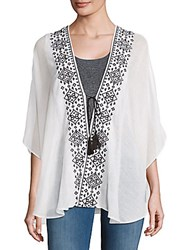 Venetian Breeze Embroidered Open Front Tunic White
