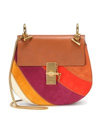 Chloe Drew Small Rainbow Patchwork Leather And Suede Shoulder Bag Brown