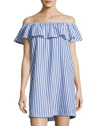 Velvet Heart Carenza Striped Off The Shoulder Dress Blue White